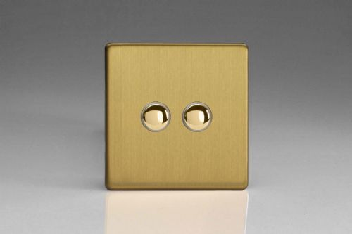 Varilight XEBP2S Euro Brushed Brass 2 Gang 6A 1 or 2 Way Push-On/Off Impulse Switch